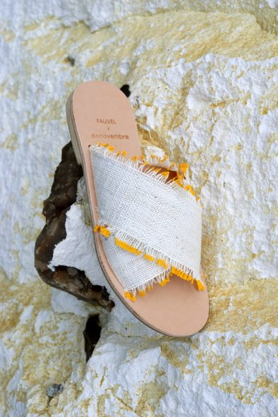 flat cross sandal & denovembre eyelash yellow