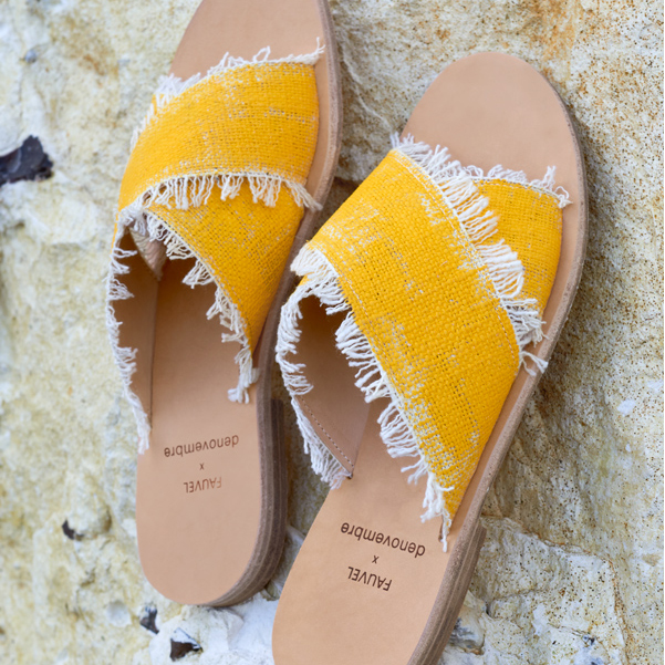 Flat cross sandals atelier fauvel & denovembre brushed yellow