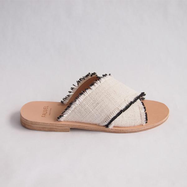 Flat cross sandals atelier fauvel & denovembre eyelash black