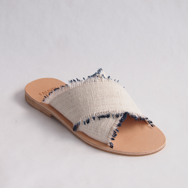 Flat Cross Sandals Atelier Fauvel & denovembre Eyelash Blue